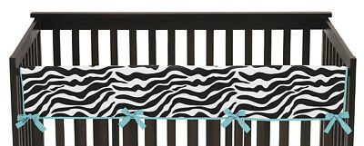 Sweet Jojo Zebra Print Front Rail Guard Crib Cover Baby Teething Protector Wrap