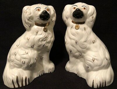 "Pair (2) BESWICK Staffordshire 7.5""  SPANIEL White WALLY DOGS 1378-5"