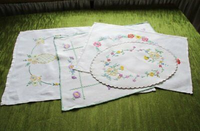 Vintage Tray Cloths - Hand Embroidered - Linen - Col. Of 4