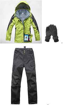 Women Green 8Kmm Hiking Bush Walking Waterproof Jacket+Pants+Gloves S M L XL XXL