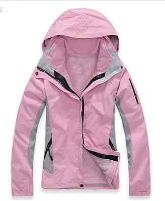 Women Pink Hiking Camping Bush Walking Waterproof Breathable Jacket S M L XL XXL