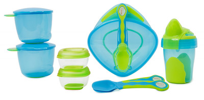 8 Pieces Baby Weaning Start Kit Pots Spoons Sip Cup BPA FREE Toddler Feeding Set