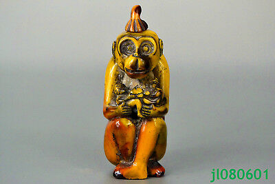 Vintage Collectible handwork Exquisite Carving monkey Statue old Snuff Bottle
