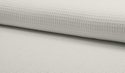 100% Cotton WAFFLE Honeycomb Pique Fabric Material - WHITE