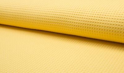 100% Cotton WAFFLE Honeycomb Pique Fabric Material - YELLOW
