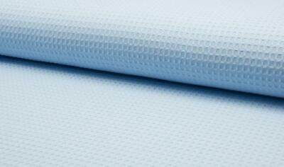 100% Cotton WAFFLE Honeycomb Pique Fabric Material - PALE BLUE