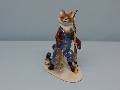Retired Hagen Renaker Specialty Papa Fishing Fox with a Repaired Pole