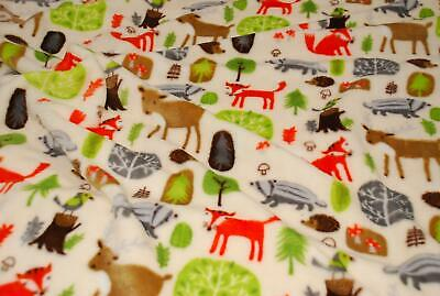Double Sided Supersoft Cuddlesoft Fleece Fabric Material WOODLAND ANIMALS IVORY