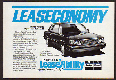 1985 PLYMOUTH Reliant K Original small Print AD - LeaseAbility Dodge Aries K