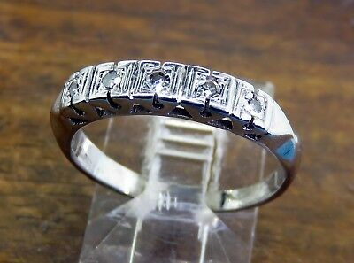 Vintage palladium ART DECO 1920's 1930's FLORENTINE DIAMOND WEDDING BAND ring