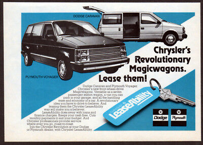 1984 DODGE Caravan Vintage Original small Print AD LeaseAbility PLYMOUTH Voyager