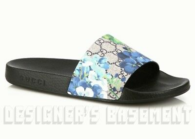 d0ea4aea3 GUCCI mens 14G blue BLOOMS GG Supreme PURSUIT slides FLIP-FLOPS shoes NIB  Authen