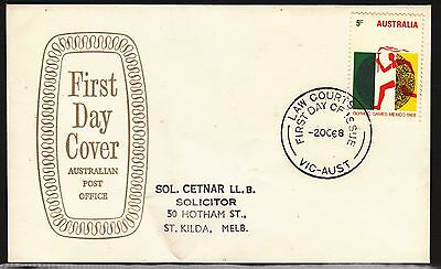 AUSTRALIA 1968 5c Mexico Olympic on ADDRESSED FDC