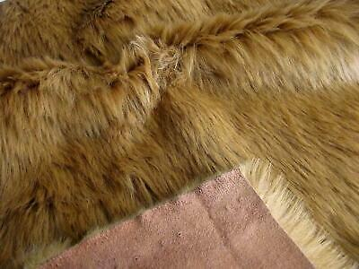 Super Luxury Faux Fur Fabric Material - SUEDE BACKED GINGER BROWN