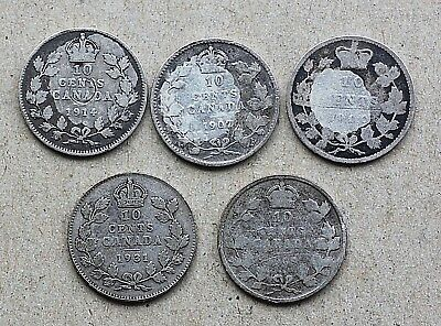 Lot of 5 Canada 10 Cents, Silver, 1907, 1909, 1900, 1914, 1931
