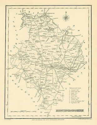 Antique county map of HUNTINGDONSHIRE by Starling & Creighton for Lewis c1840