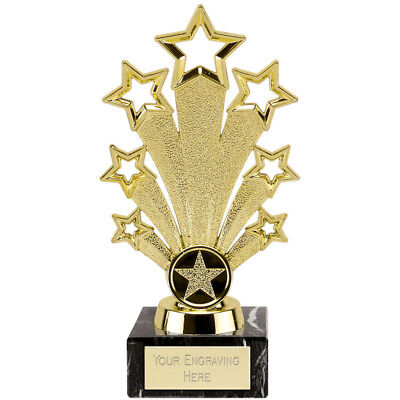 Fanfare Star Gold Colour Trophy Engraved Free Academic Business Award Trophies