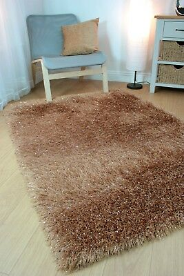 Modern Brown Caramel Cosy Shaggy Rugs Soft Thick Furry Polyester Living Room Rug