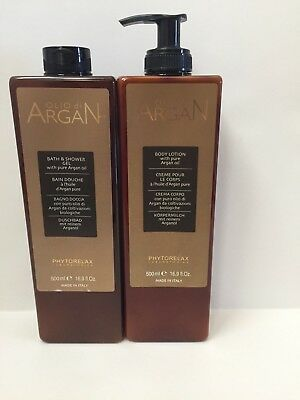 Phytorelax Shower Gel & Bod Lotion Set With Argan Oil 16.9 Fl. Oz. From Italy