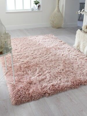 Modern Pink Blush Cosy Shaggy Rugs Soft Thick Furry Polyester Living Room Rug