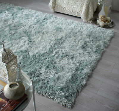 Modern Duck Egg Blue Cosy Shaggy Rugs Soft Thick Furry Polyester Living Room Rug