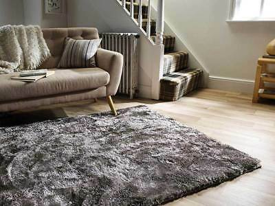 Modern Silver Grey Cosy Shaggy Rugs Soft Thick Furry Polyester Living Room Rug