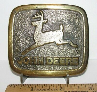John Deere 1968 JD Leaping Deer Trademark Logo Solid Brass Belt Buckle 1975 1976