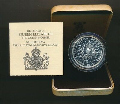 Great Britain 1980 25p .84oz Silver Proof Crown, 80th Birthday of Queen's Mother