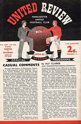 1954/1955 NO.13 MANCHESTER UNITED V READING FAC 3rd ROUND FIXTURE VERY GOOD COND