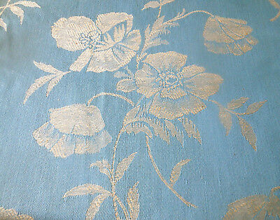 Antique Vtg. French Poppy Floral Cotton Damask Ticking Fabric ~ Sea Sky Blue