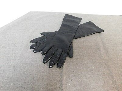 Womans Vintage Black Elbow Length Leather Gloves Size 8