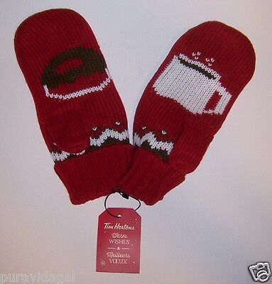 TIM HORTONS Coffee 2016 MITTENS ~ Mitts ~ NEW ~ Knit and Fleece