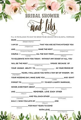 HEN  NIGHT PARTY GAMES * pack of 10* BRIDAL MAD LIBS  *PEACH ROSES