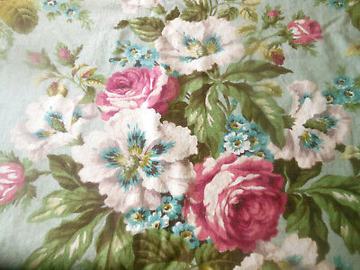 Antique Vintage Roses Hibiscus Floral Cotton Fabric ~ Deep Pink Robin Egg Blue