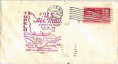 Dr Jim Stamps Us Tupelo Mississippi Am 98 First Flight Air Mail Cover Birmingham