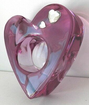 Beautiful Partylite Heart Shaped Purple Glass Candle Holder With 2 Extra Hearts
