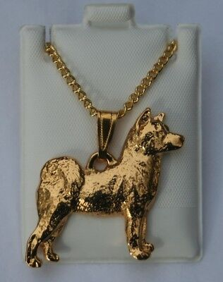 Akita Dog 24K Gold Plated Pewter Pendant Chain Necklace Set