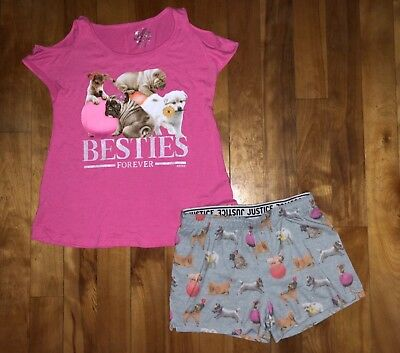 Justice Girls 10 Pajamas Pjs Cold Shoulder Top Shorts Set Besties Forever Dogs