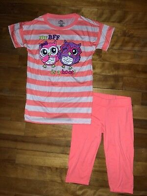 New Justice Girls 10 Pajamas Pjs Owl My Bff Is A Hoot Top Shirt Capris Set Cute