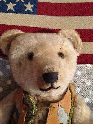 Alter Teddybär -Blanker Knopf -Old Teddy Bear -Vintage -Antik -Antique - Uralt
