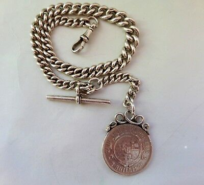 Antique Solid Silver Pocket Watch Chain & South African Silver Two Shilling Fob