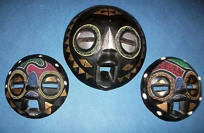 Ashanti West African Three Tribal Carved Wooden Moon Masks Brass & Bead Inlaid