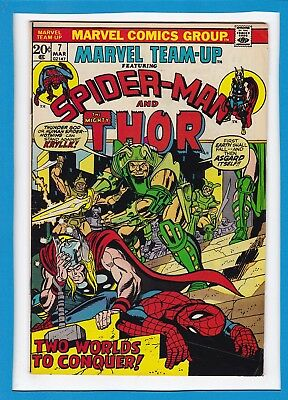 """Marvel Team-Up #7_March 1973_Vf Minus_Spider-Man_Thor_""""two Worlds To Conquer""""!"""