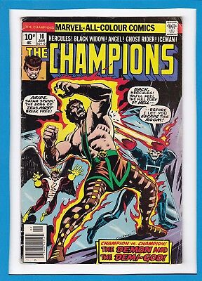 """The Champions #10_Jan 1977_Very Good_""""the Demon And The Demi-God""""_Bronze Age_Uk!"""