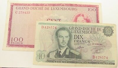 Luxembourg 1963 100 Franc & 1967 10 Franc