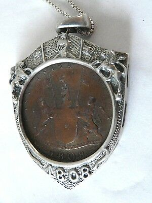 Vintage 1808 X Cash Coin East India Company Sterling Silver Pendant Signed 1808