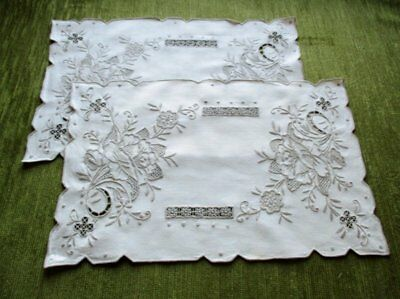 "PR.ANTIQUE MADEIRA TRAY CLOTHS HAND EMBROIDERED-LINEN-10.5""x16""UNUSED"