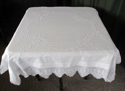 ANTIQUE TABLECLOTH - EMBROIDERY with HAND CROCHET TRIM