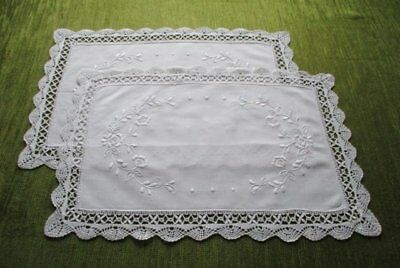 PR. VINTAGE TRAY CLOTHS HAND EMBROIDERED with BOBBIN LACE EDGE