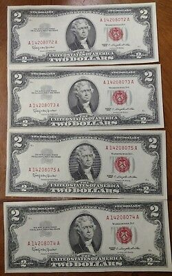 Lot of (4) Sequential BU UNC CU $2 Red Seal Notes WOW!